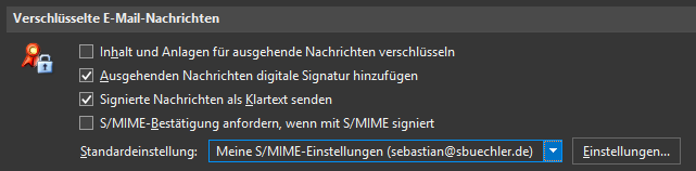 s mime security settings
